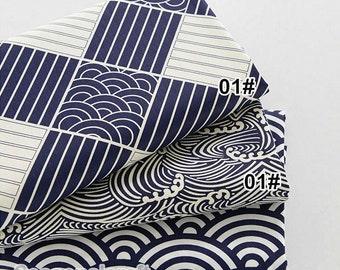 Navy Blue Twill Cotton fabric, Waves Style, Cotton Fabric- 1/2 Yard (QT756)