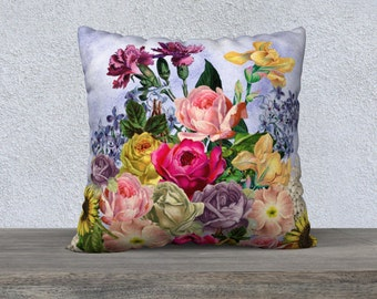 Vintage Spring  Flowers Pale Blue Cushion Cover