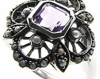 Platinum Amethyst & Pearl Ring,  PT900, Vintage Platinum Ring, Women's Amethyst Pearl Ring, Antique Amethyst Pearl Ring, Custom R557