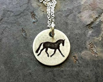 Hand stamped Horse Quote Necklace for Equestrian-Horse Lover Necklace-Sterling Silver Horse Necklace-Equestrian
