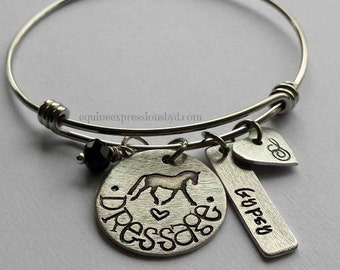 Dressage Horse bangle-Personalized Hand stamped dressage charm bracelet-Horse Charm Bracelet