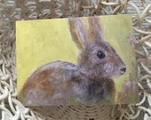 Easter Card/Easter Greeting Card/Bunny Card/Bunny Greeting Card/Bunny Note Card/Bunny Art/Bunny Painting/Brown Rabbit Art/FREE SHIPPING