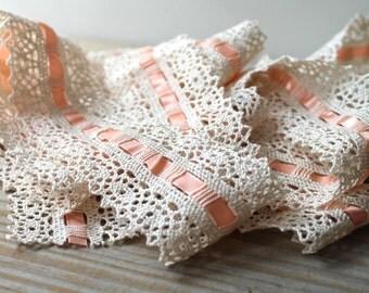Sewing notions vintage trim ribbon / ecru lace / pastel orange satin ribbon / country cottage home decor trim / wide lace sewing trim
