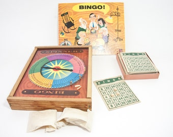 Vintage Tucket Toys Corp Wooden Boxed Bingo Game Set, Vintage Toys