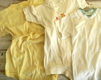 Vintage Baby Bodysuits, Jersey Cotton Bodysuit, 1950s Baby Boy Outfits, Bodysuits, Boy's Shirt, Tee Shirt, Lot of 3 Vintage Baby Boy Shirts