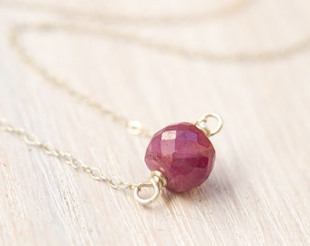 Ruby Necklace - 6 carats, raw ruby necklace, natural ruby, eco-friendly jewelry, July birthstone, sterling silver necklace
