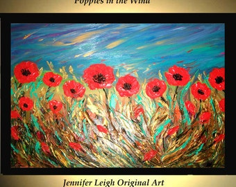 Original Large Abstract Painting Modern Acrylic Painting Oil Painting Canvas Art Gold POPPIES Orange Floral 36x24 Textured Wall Art  J.LEIGH