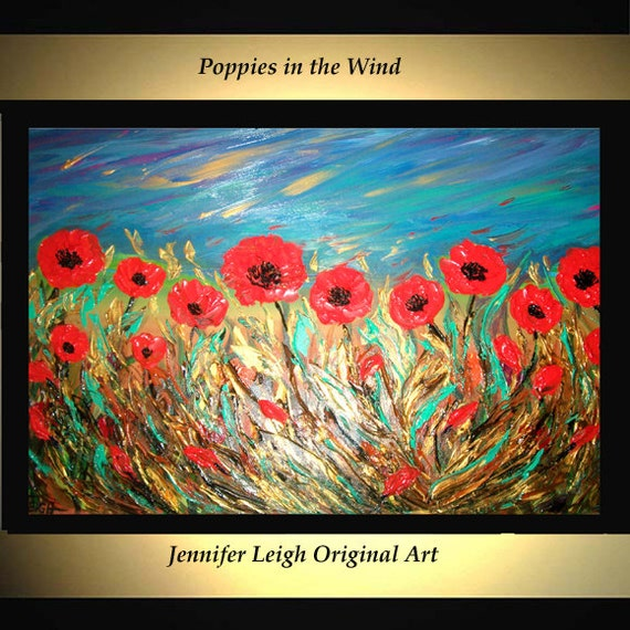 Original gran la pintura abstracta moderna acrílico pintura pintura al óleo lienzo arte oro amapolas naranja Floral 36 x 24 textura pared arte J.LEIGH