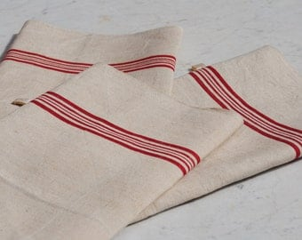 Trio of antique or vintage French rustic kitchen linen tea towels with 5 red stripe decoration - unused