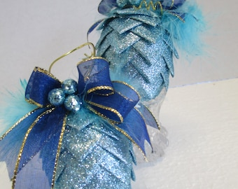 Set of 2 Handcrafted christmas ornaments ribbon pinecone ornament trimmed with blue wired ribbon and feather and beads