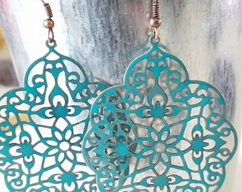 Copper Painted Filigree Statement Earring Set