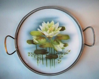 Art Deco Porcelain and Metal Tray Bruckmann Metalworks Factory