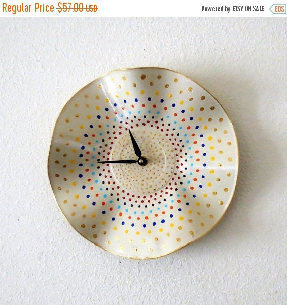 Sale, Polka Dot Wall Clock, Decor and Housewares, Home Decor, Unique Wall Clocks, Home and Living, Unique Gift For Her
