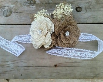 Rustic/Shabby Chic Burlap Rose Corsage with Baby's Breath/Wedding Corsage
