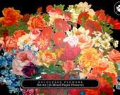 DieCut Shape - Die Cut Decoupage Flowers Set #2- 36 Mixed Paper Flowers - clipart roses, floral clipart, clipart floral, roses clipart
