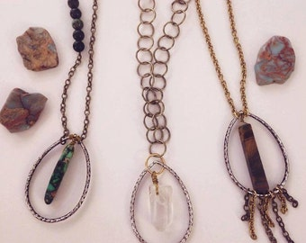 Hanging Crystal Quartz Necklace with Hoop Chain