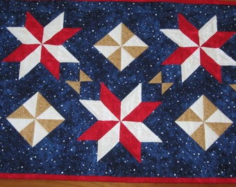 Quilted Table Runner, Patriotic Red White Blue Stars and Pinwheels