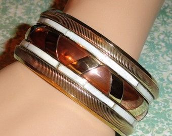 Brass Copper Mixed Metal Mother Of Pearl MOP Inlay Inlayed Wide Vintage Bangle Bracelet