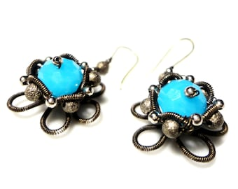 Wire Wrapped Flower Earrings, Handmade Jewelry, Blue Earrings Oxidized Wire, Blue Facetted Glass Crystal, Metallic Beads, Stardust