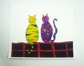 """Cat print, Colorful art print, cats with abstract details """"Best Friends"""" 8x10"""" print"""