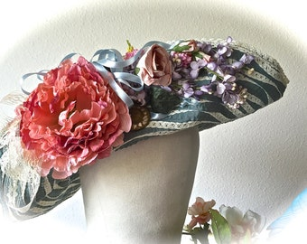 Practical Magic Aunts Hat Romantic Victoriana Aqua Blossoms Collage OOAK Shabby Chic Downton Abbey Boardwalk Empire Beauty