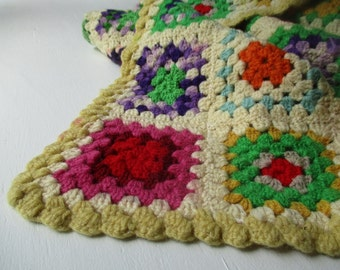 cream afghan blanket bold granny square Crochet Blanket for Home Bedding Lap throw Granny Chic picnic small stadium blanket