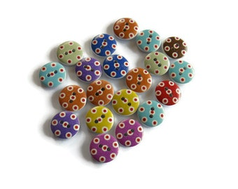 20 x Assorted Polka Dot  Buttons - 15mm Wooden Buttons - Assorted 15mm Buttons