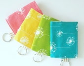 Dandelion  Business Card Holder - Velcro Keychain Wallet - Small Fabric Wallet - Arrow Fabric Wallet