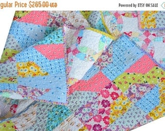 CHRISTMAS In JULY SALE Pink Lap Quilt - Baby Bedding - 30s Fabric