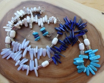 31 Inch Southwestern Turquoise and Three Gem Stick Bead Necklace  and Earrings