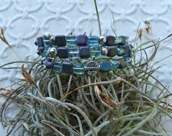 Czech Square Blue Tone Beaded Three Wrap Memory Wire Bracelet