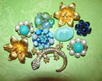 Vintage Mismatched Earrings Lot for Parts Crafts Rhinestone Beaded Destashed
