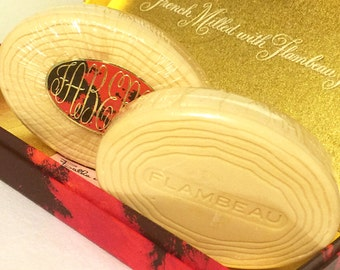 Vintage Faberge Flambeau French Milled Soaps - 2 bars in presentation box