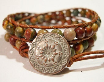 Beaded wrap bracelet, Wrap bracelet, Beaded LeatherWrap, Boho bracelet, Beaded wrap - 839