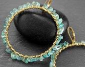 AQUA GREEN APATITE Gemstone Hoop Earrings - Solid Brass 57mm Long - Fine Jewelry
