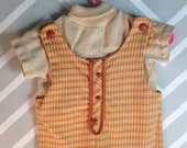 vintage carter's two piece brown and tan shortalls set size 3T