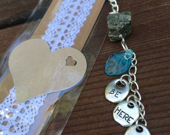 Handmade Crystal bookmark - Pyrite - Blue Apatite - Be Here Now