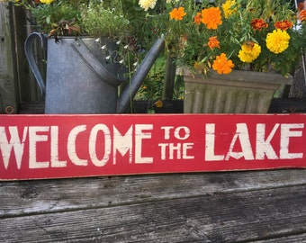 Welcome to the Lake hand painted red and white rustic, distressed beach, cottage lake house wooden sign