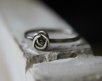 Sterling Silver Dainty Rose Stacking Ring
