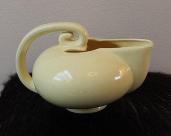Vintage American Camark Art Deco 1930's Pale Yellow Geometric Circular Pottery Pitcher