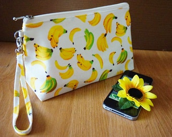 Banana Cosmetic Bag, Banana Zipper Pouch, Fruit zipper pouch, Summer Fruit Zipper pouch, Summer Cosmetic bag, Makeup Zipper Bag, Makeup bag