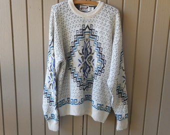 Vintage Men's Pullover Sweater Cream Colored Abstract Print Size Large