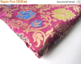 ON SALE SALE Lavender purple green blue gold flowers branches silk brocade from India fabric nr 327 Remnant