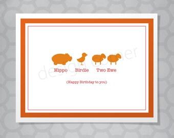 Cute illustrated hippo, bird, ewe Birthday Card