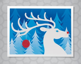 Rudolph Reindeer Silhouette Illustrated Christmas Card