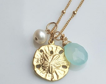 Gold Sanddollar, Sea Foam Chalcedony and Fresh water pearl necklace