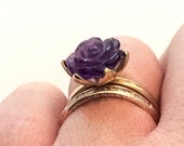 1st Payment For Lillian, Amethyst Rose Ring, 333 European Gold, 9K Gold, Vintage Jewelry, SPRING SALE