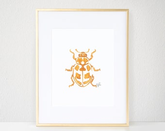 Beetle Print, Gold Bug Illustration - Inkblot Fashion Wall Art Watercolor Painting, Parenthesis Beetle