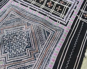 Vintage indigo Batik Cotton Fabric, handmade tapestry textiles,Hand stitched art,  hill tribal fabrics