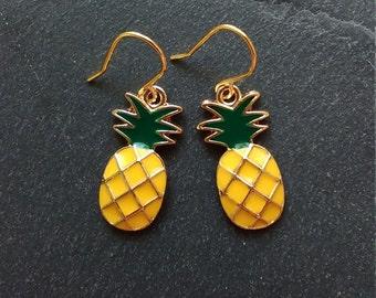 Pineapple earrings - Gold pineapple earrings - Dangle earrings - Boho earrings - Boho hippie gypsy - Everyday jewelry - Gold earrings
